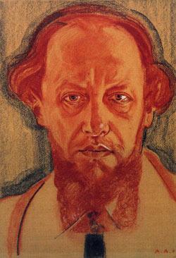 Автопортрет Александра Мартыновича Арнштама. Сангина, соус, белила, бумага. Берлин, 1924